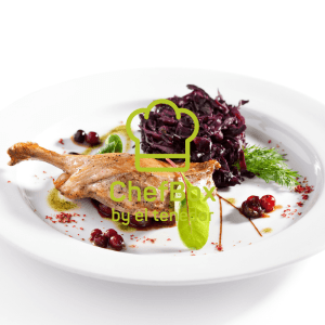 Duck confit with red cabbage.